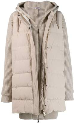 Brunello Cucinelli zipped knitted padded jacket