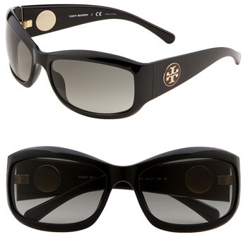 Tory Burch 'Pop Out Logo' Wrap Sunglasses Black One Size