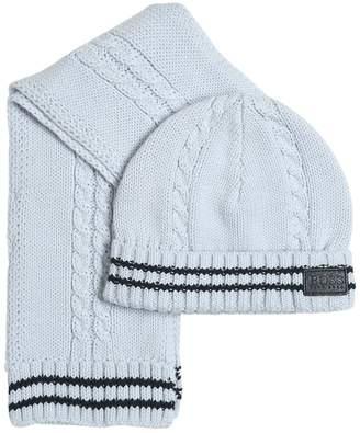 HUGO BOSS Tricot Cotton Scarf & Hat