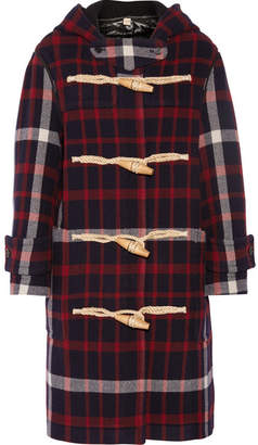 Burberry Hooded Checked Woven Duffle Coat - Red