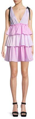 Romeo & Juliet Couture Tie-Shoulder Tiered Stripe Mini Dress