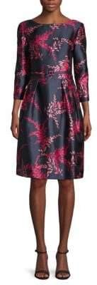 Oscar de la Renta Belted Silk & Cotton Fit-&-Flare Dress