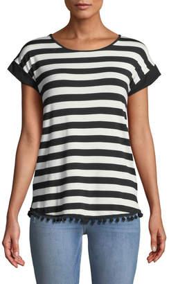 Neiman Marcus Striped Pompom-Hem Tee