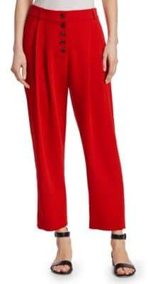 A.L.C. Women's Russel Button-Front Pants - Flame Red - Size 2