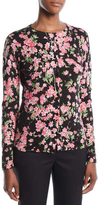 Escada Round-Neck Long-Sleeve Floral-Print Cardigan