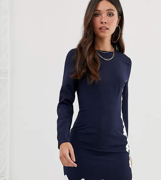 Missguided long sleeve mini dress with lace trim in navy