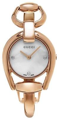 Gucci Horsebit YA139508 Rose Gold-Tone Stainless Steel Mother of Pearl Diamond Dial 28mm Watch