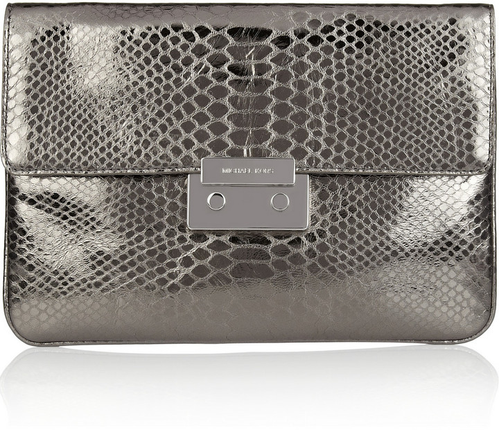 MICHAEL Michael Kors Sloan python-effect leather clutch