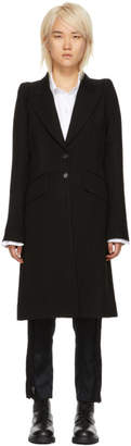 Ann Demeulemeester Black Wool Lapel Button Coat