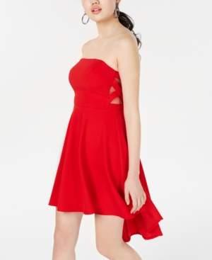 B. Darlin Juniors' Strapless X-Side High-Low Dress