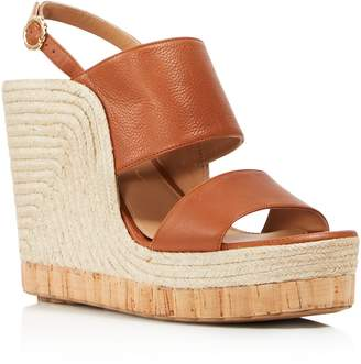 Salvatore Ferragamo Women's Leather Slingback Espadrille Wedge Sandals
