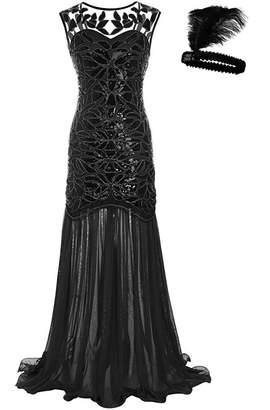 General Women 's 1920s Sequin Maxi Long Great Gatsby Evening Prom Party Dress (, XL)