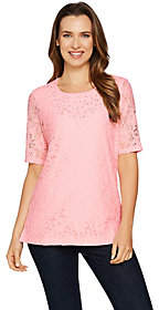 Factory Quacker Lace Elbow Sleeve Top withRhinestones