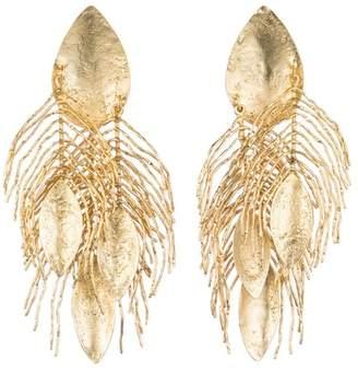 Josie Natori 24K Gold Plated Brass Peacock Feather Earrings