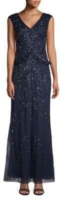 Adrianna Papell Beaded Floor-Length Dress