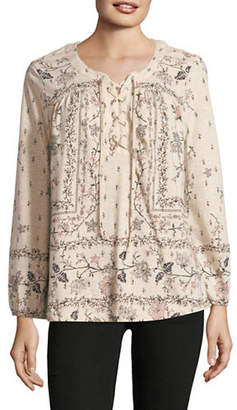 Style&Co. STYLE & CO. Floral-Print Lace-Up Top