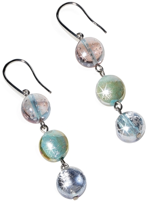 Antica Murrina Redentore 1 - Pastel Pink and Green Murano Glass & Silver Leaf Dangling Earrings $62 thestylecure.com