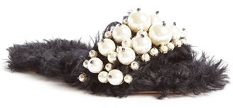 Women's Miu Miu Embellished Faux Fur Slipper