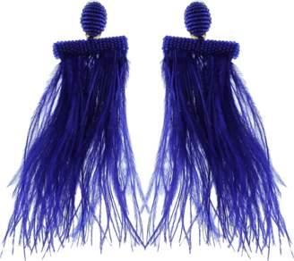Oscar de la Renta Feather Tassel Earrings