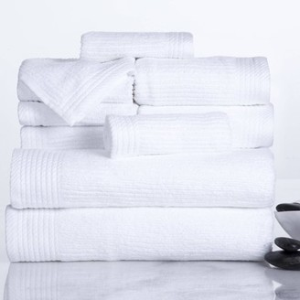 Somerset Home Ribbed 100% Cotton 10-Piece Towel Set - White