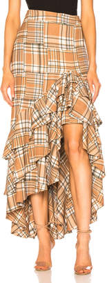 PatBO Plaid Ruffle Midi Skirt in Tan Multi | FWRD