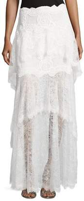 Jonathan Simkhai Collection Tiered Dimensional Lace Maxi Skirt