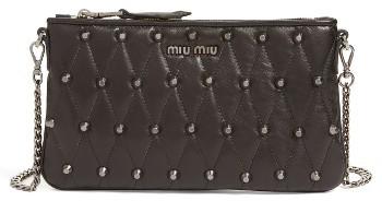 Miu MiuMiu Miu Quilted Nappa Leather Convertible Clutch - Black