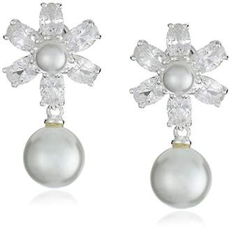 Nina Rhada Elegant Pearl and Cubic Zirconia Floral Drop Earrings