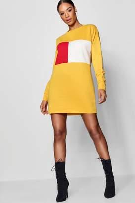 boohoo Holly Colour Block Sweat Dress