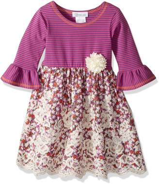 Bonnie Jean Little Girls' Knit to Floral Embroidered Scallop Dress