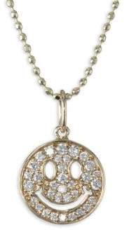 Sydney Evan Anniversary Happy Face Diamond Pendant Necklace