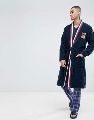 Tommy Hilfiger robe with H logo and stripe shawl collar in navy