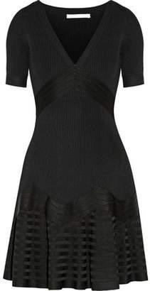 Antonio Berardi Fluted Paneled Stretch-Knit Mini Dress