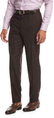 Brioni Wool Flannel Flat-Front Trousers, Burgundy