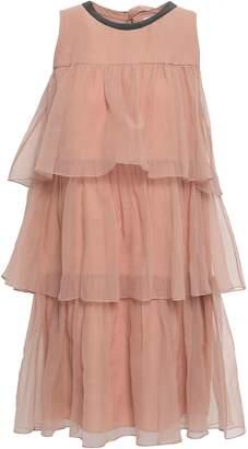 Brunello Cucinelli Bead-embellished Tiered Silk-organza Mini Dress