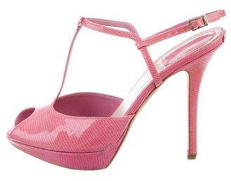 Christian Dior Embossed T-Strap Sandals
