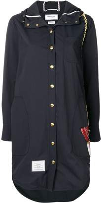 Thom Browne Duck Bag Patch Hooded Shirtdress