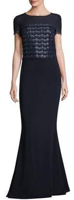 St. John Sparkling-Scalloped Short-Sleeve Gown, Navy