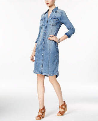 INC International Concepts Embroidered Denim Shirtdress, Only at Macy's $119.50 thestylecure.com