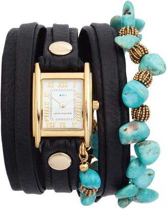 La Mer Oceana Stones Leather Wrap Watch, 29mm x 25mm