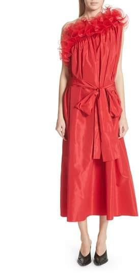 One-Shoulder Ruffle Taffeta Dress