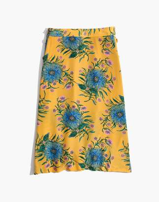 Madewell Silk Side-Button Skirt in Painted Blooms