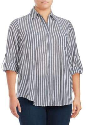 Lord & Taylor Plus Roll-Tab Stripe Blouse