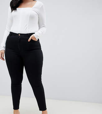 Asos DESIGN Curve Ridley high waist skinny jeans in clean black