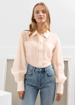 And other stories Flowy Puff Sleeve Button Up Shirt