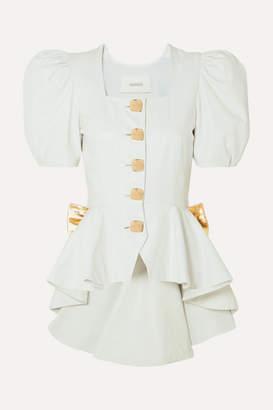 Rodarte Bow-embellished Ruffled Leather Blouse - White