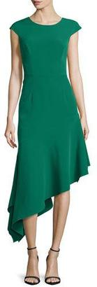 Milly Cap-Sleeve Asymmetric Ponte Dress, Emerald $525 thestylecure.com