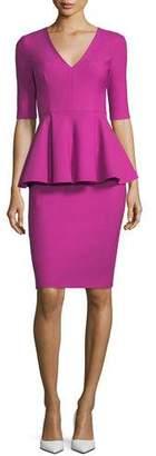 Milly Lola Half-Sleeve Tech-Stretch Peplum Cocktail Dress
