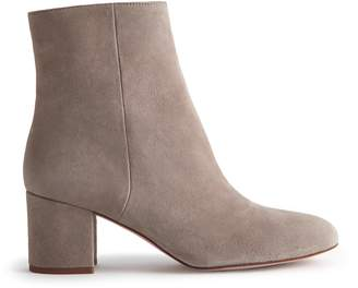 Reiss Delphine Suede Block Heeled Ankle Boots