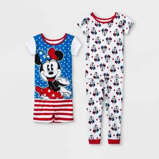 Minnie Mouse Toddler Girls' Minnie Mouse 4pc Pajama Set - White/Blue/Red